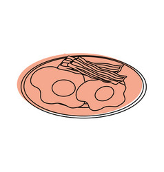 Plate with egg and bacon icon vector