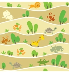 Seamless pattern with funny african animals vector image vector image