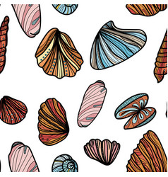 seamless pattern with sea shells vector image