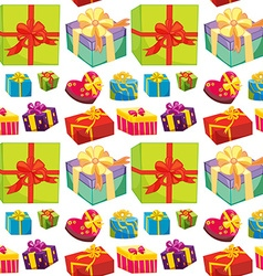 Seamless present boxes in different color vector