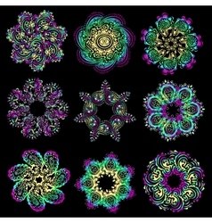 set of colorful round pattern vector image