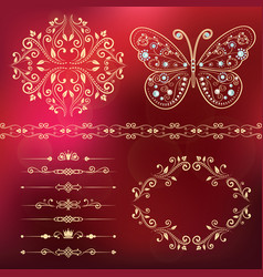 set of floral border frame dividers vector image vector image