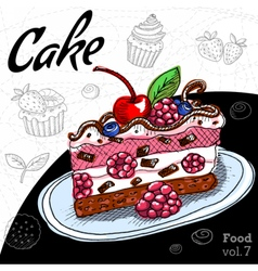 Set with desserts cake cupcake vector