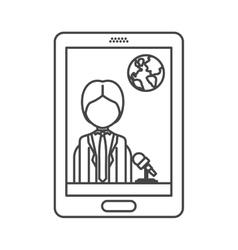 smartphone with news journalist vector image