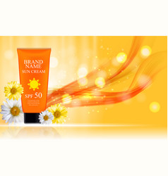 sun care cream bottle tube with flowers chamomile vector image