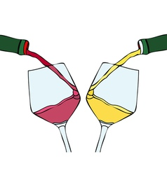 White wine and red wine vector