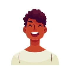 Young african man face laughing facial expression vector