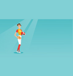 Young caucasian female rugby player vector