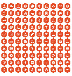 100 philanthropy icons hexagon orange vector