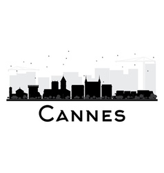 Cannes city skyline black and white silhouette vector