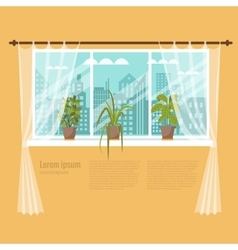 Window with curtains and flowers vector