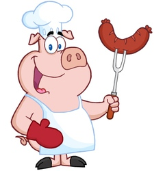 Pig chef cartoon character with sausage on fork vector
