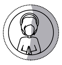 Circular sticker silhouette half body baby jesus vector