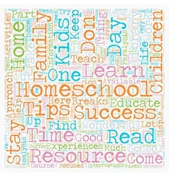Simple homeschool success tips text background vector