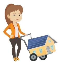 Young woman buying house vector