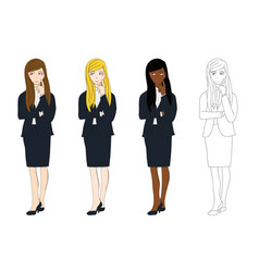 business woman thinking vector image