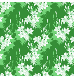 Seamless floral pattern texture with lilies on vector