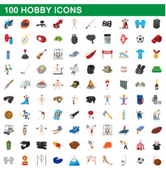 100 hobby icons set cartoon style vector image