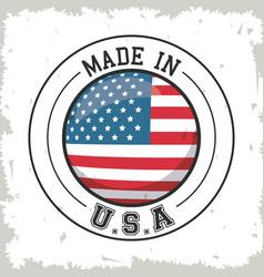 Made in usa flag button design vector