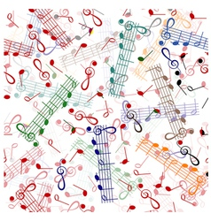 Music notation repeating pattern on a white vector