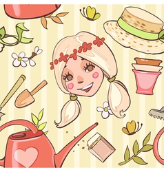 Seamless pattern with flower girl hats garden tool vector