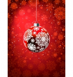 Christmas ball on falling flakes vector image