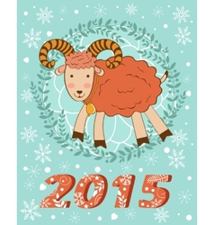 Concept 2015 new years card with cute goat vector