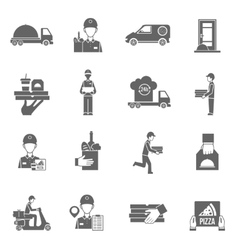 Food delivery courier black icons set vector