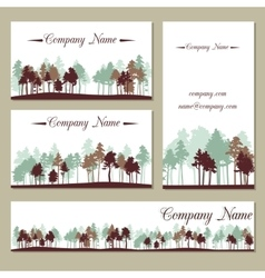 Set of templates with trees vector