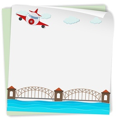Paper design with airplane and bridge vector