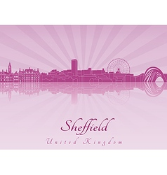 Sheffield skyline in purple radiant orchid vector