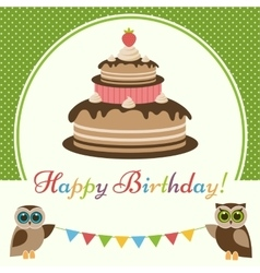 Birthday card with cake and cute owls vector image