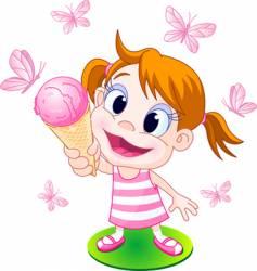 ice cream girl vector image