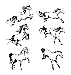 Set with hand-drawing graphic of a running horses vector