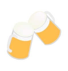 Two mugs of beer icon isometric 3d style vector