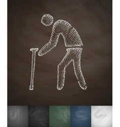 old man with cane icon Hand drawn vector image