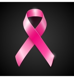 Pink ribbon breast cancer awareness symboll vector