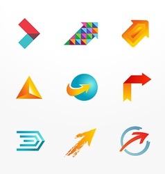 Arrow symbol logo icon set Collection of colorful vector image