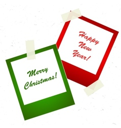 Chrismas photo stickers with tape vector image vector image
