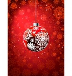 Christmas ball on falling flakes vector image vector image