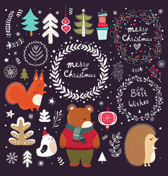 Christmas collection with symbols vector