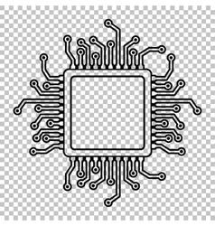 Cpu microprocesso line icon vector