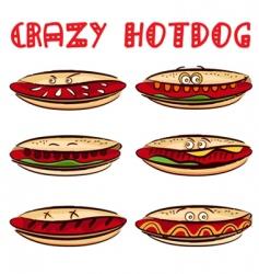 crazy hotdog vector image vector image