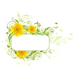 Decorative background with yellow sunflowers vector image