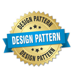 design pattern round isolated gold badge vector image vector image