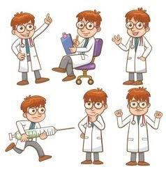 doctor cartoon character set vector image vector image