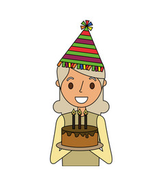 Elderly woman grandmother holding birthday cake vector