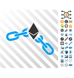 Ethereum broken chain cards with bonus vector