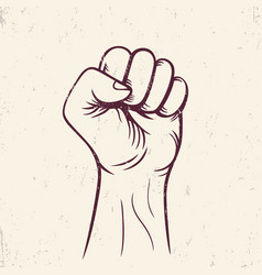Fist held high revolt protest sign vector