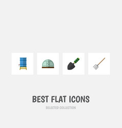 Flat icon farm set of container hay fork vector